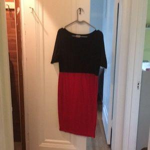 Large LLR Black Red Panel-Color Dress